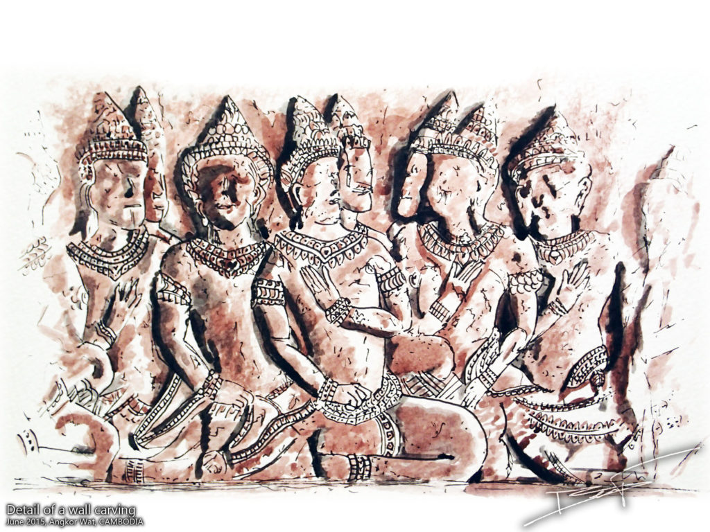 Gravures d'Angkor Wat